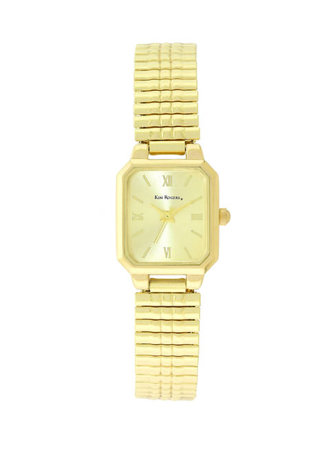 Kim Rogers® Womens Gold Expansion Square Case Watch