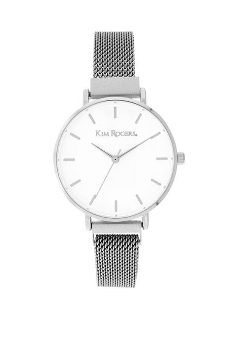 Kim Rogers® Womens Silver Mesh Magnetic Clasp Round