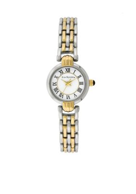 Kim Rogers Womens Roman Numeral Two-Tone Link Watch