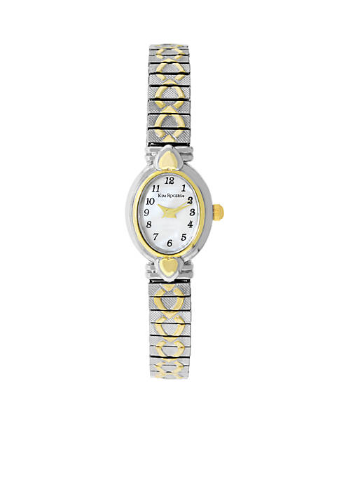 Kim Rogers® Womens Two-Tone Heart Expansion Watch