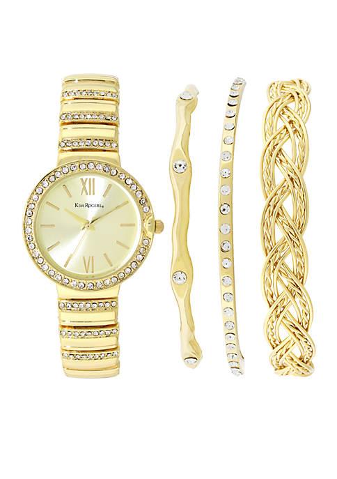 Womens Gold-Tone Glitz Watch and Bracelet Set