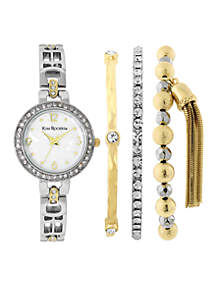Women's Two-Tone Glitz Watch Bracelet Set