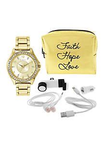 Kim Rogers® Women's Gold-Tone Watch and Metallic Tech Set