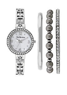 Silver Glitz Watch Bangle Set