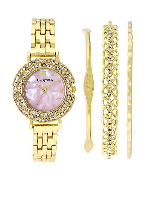 Kim Rogers® Gold Mop Dial With Bangle Set