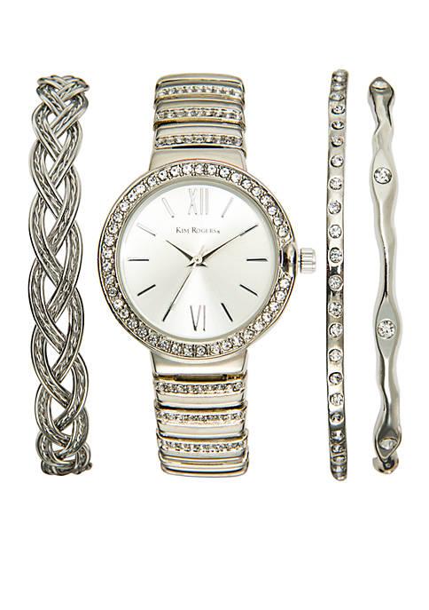 Silver-Tone Glitz Watch Bracelet Set