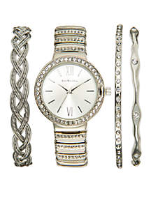 Silver-Tone Glitz Watch Bracelet Set