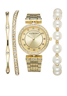 Gold-Tone Glitz Pearl And Bangle Set