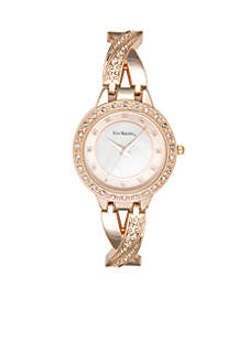 Rose Gold-Tone Watch and Bangles Set