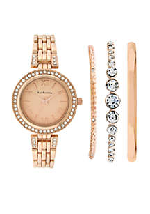 Rose Gold-Tone Watch and Bracelet Set