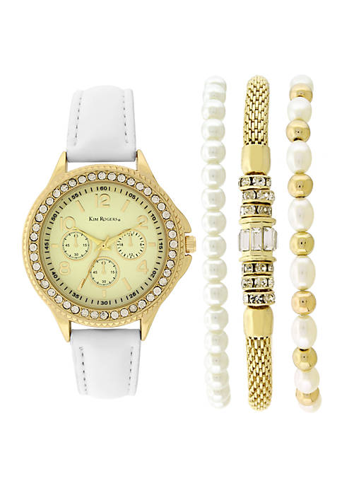 White Strap Pearl And Gold-Tone Bracelet Set