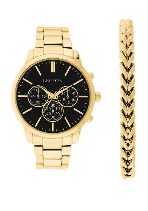 Legion Mens Gold Tone Black Dial Watch and