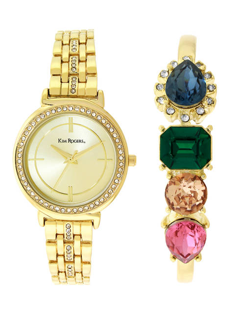 Kim Rogers® Gold-Tone Watch and Bracelet Set