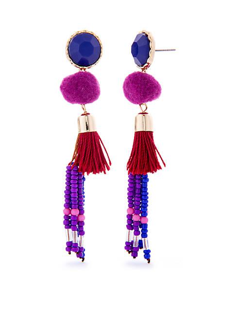 Gold-Tone Double Drop Tassel Earrings