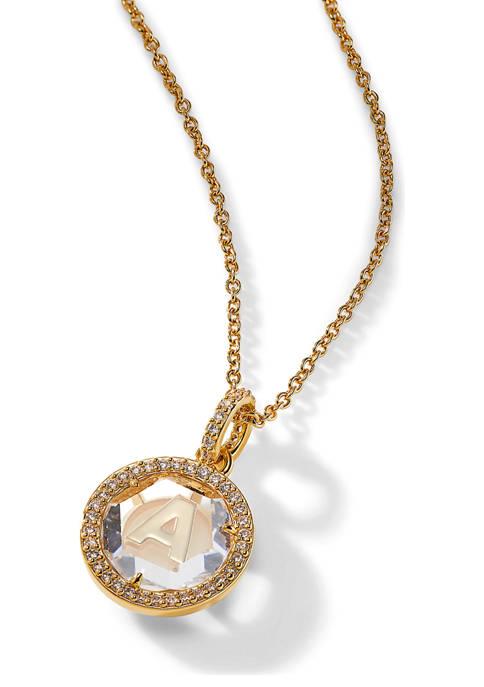 Nadri Initials Cubic Zirconia Round Pendant Necklace in
