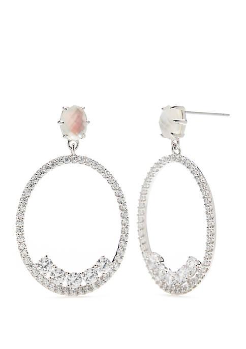 Nadri Bloom Frontal Hoop Drop Earrings