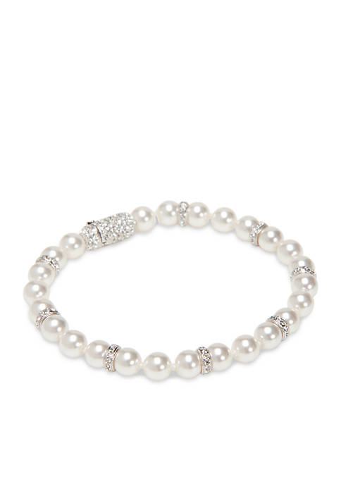 Rhodium-Plated Pearl With Rondelle Bracelet