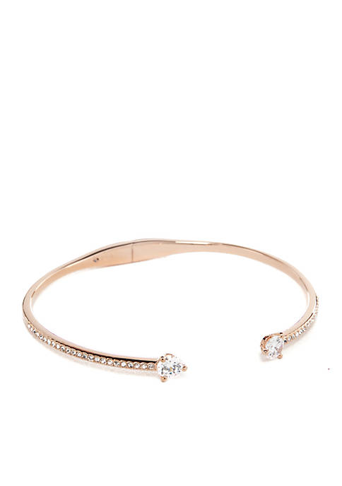 Nadri Rose Gold-Plated Float CZ Hinge Bangle Bracelet