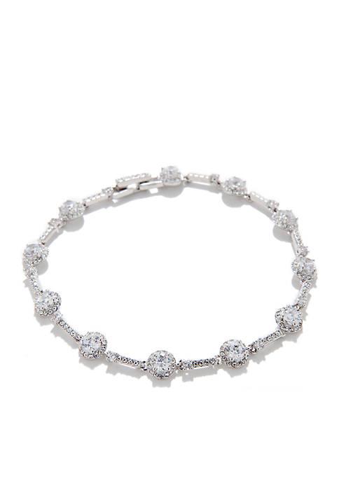 CZ Silver-Tone Bracelet