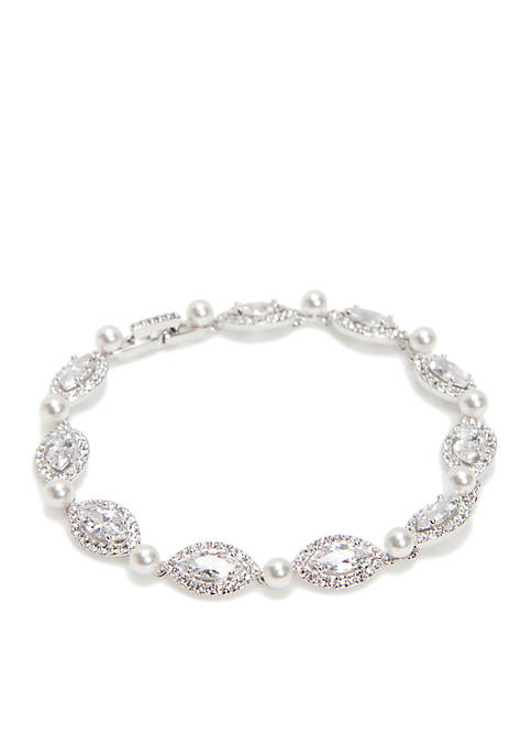 Nadri Pearl and Marquis Cut Cubic Bracelet