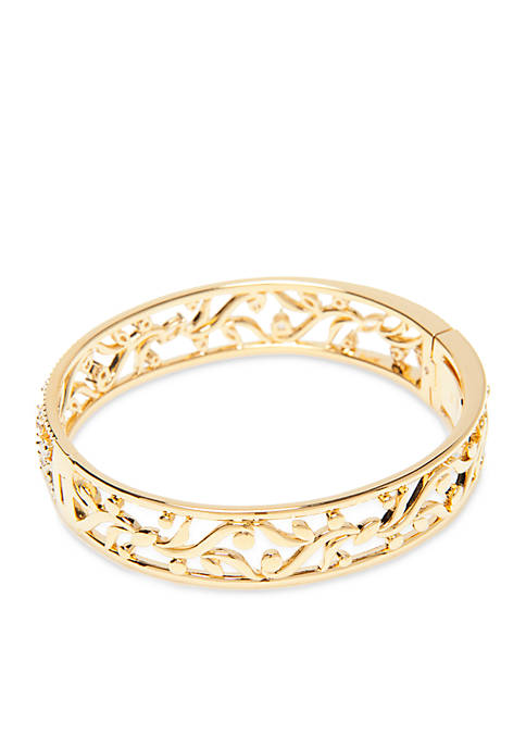 Nadri Gold-Plated CZ Vine Bangle Bracelet