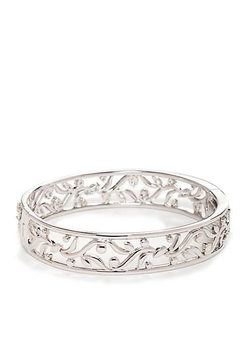 Nadri Silver-Tone Vine Bangle Bracelet