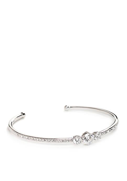 Nadri Silver-Tone Cubic Zirconia Cuff Bracelet