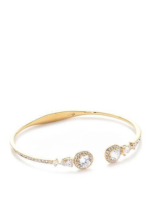 Gold-Plated Cubic Zirconia Cuff Bracelet