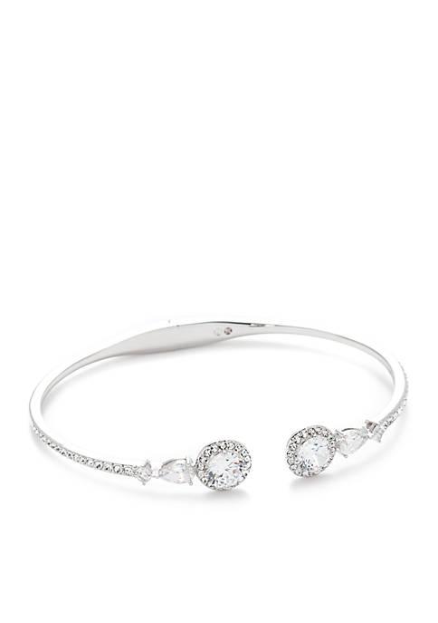 Nadri Silver-Tone Calla Cubic Zirconia Cuff Bracelet