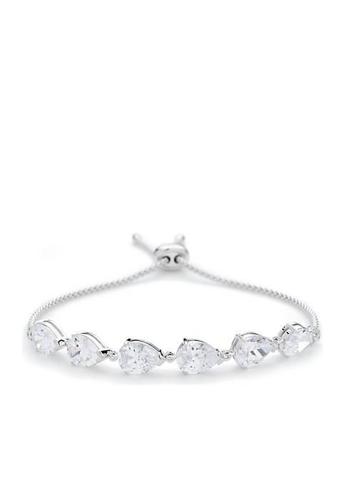Nadri Silver-Tone Corsage Bolo Bracelet