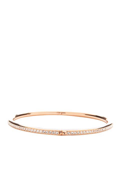 Nadri Rose Gold-Tone Channel Set Hinged Bangle Bracelet