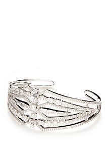 Silver-Tone Cubic Zirconia Cuff Bracelet
