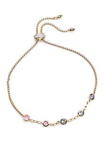 Nadri Gold Tone Bloom Bolo Bracelet