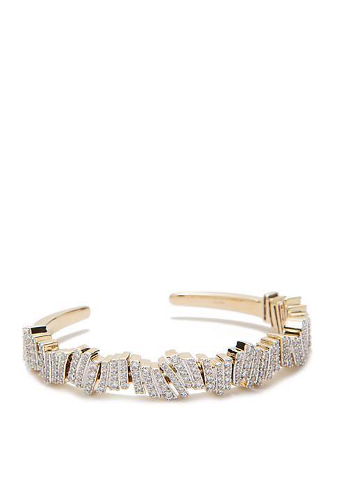 Gold Tone Ripple Flexi Cuff Bracelet