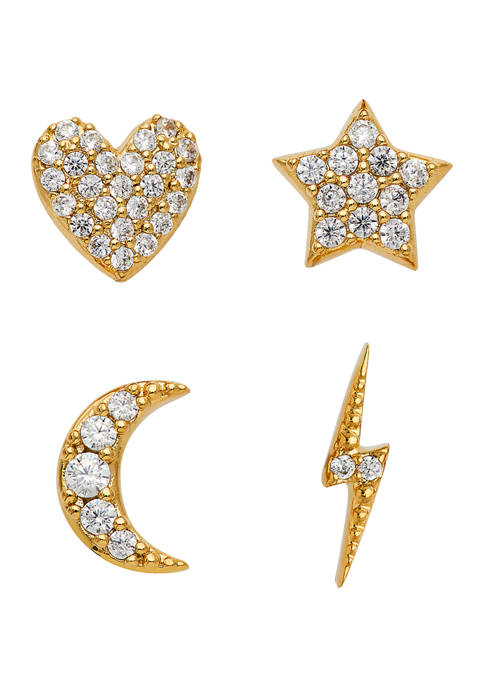 Gold Plated 1/2 Cubic Zirconia Stud Earring Set