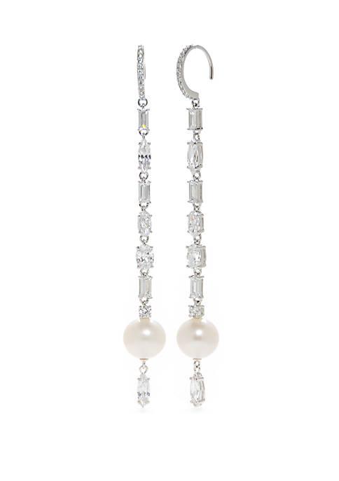 Nadri Silver-Tone Linear Drop Earrings