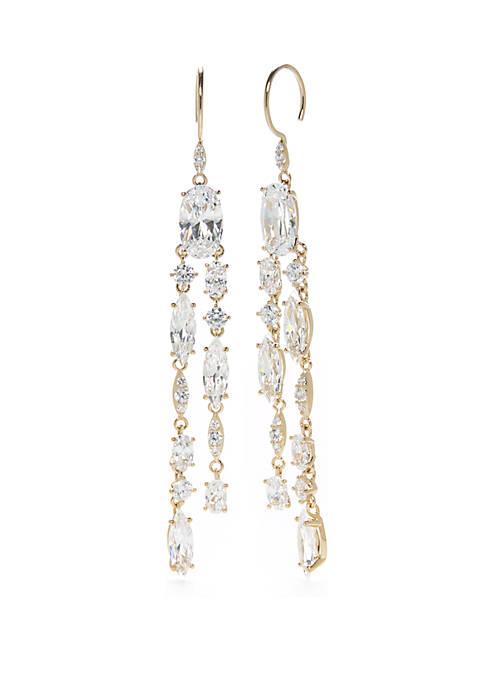 Gold-Tone Double Row Drop Earrings