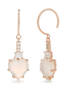 Rose Gold-Tone Valentine's Day Heart Shaped Drop Earrings