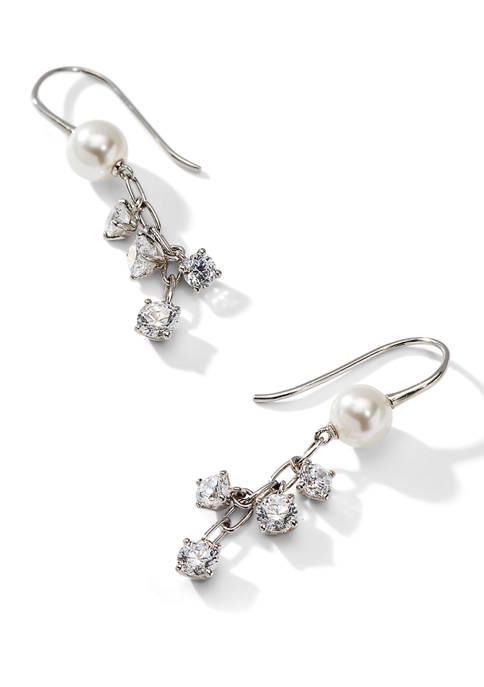 Nadri Nectar Shaky Hook Rhodium Earrings