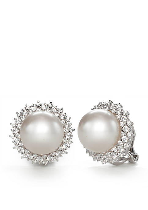 Silver-Tone Cubic Zirconia and Pearl Button Clip Earrings
