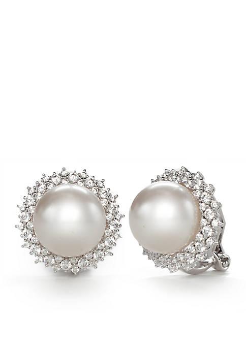 Nadri Silver-Tone Cubic Zirconia and Pearl Button Clip
