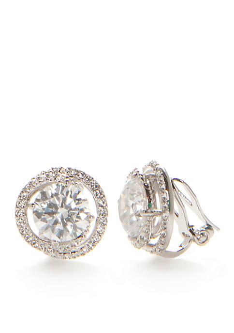 Silver-Tone Cubic Zirconia Button Earrings