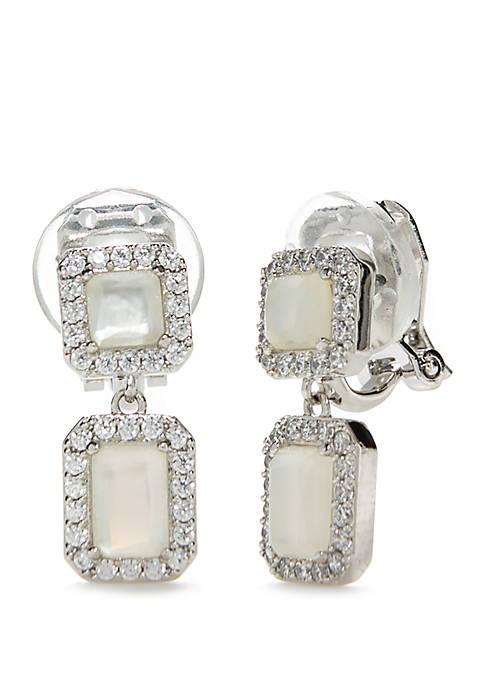 Nadri Silver-Tone Clip Drop Earrings