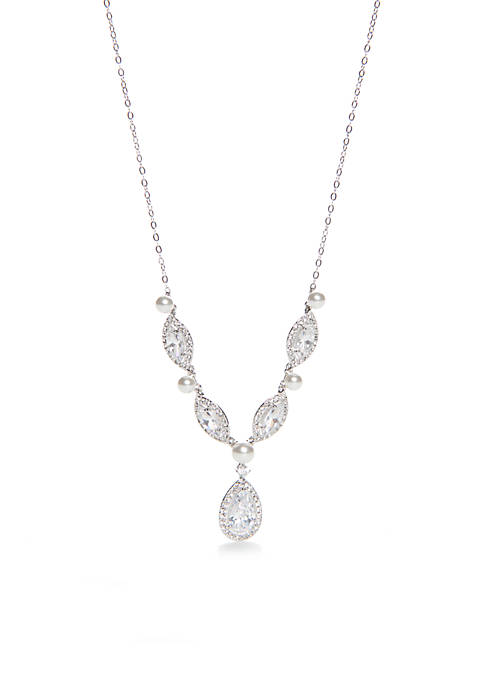 Nadri Simulated Pearl & Marquis Cut Necklace