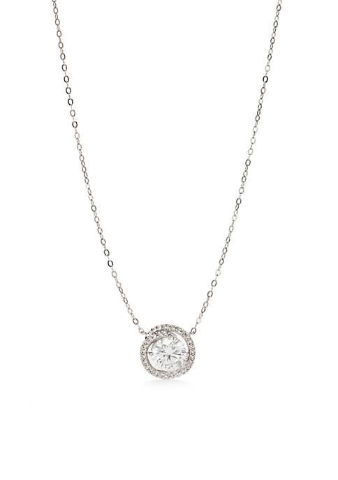 Nadri Silver-Tone Cubic Zirconia Button Pendant Necklace