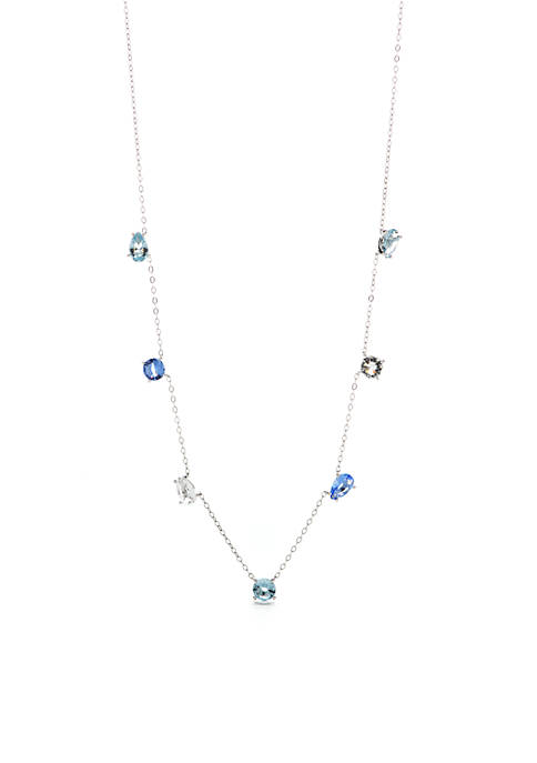 Nadri Silver-Tone Blue Mix Stone Necklace