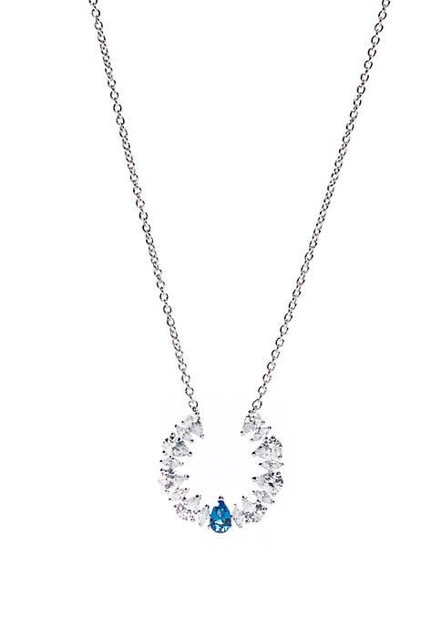 Silver-Tone Allegro Cubic Zirconia Necklace