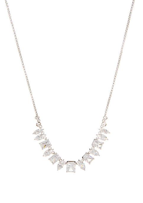 Nadri Silver Tone Frontal Necklace