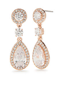 Rose-Gold Multi CZ Framed Drop Earrings