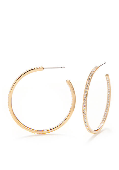 Gold-Tone Pave Medium Hoop Earrings
